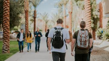 ASU students on Palm Walk in Tempe