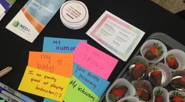 "Affirming messages writtenon post-it notes such as ""i am enough"" for an ASU event about eating disorder awareness"
