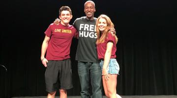 ASU student Tyler Brown with Free Hugs Project's Ken Nwadike Jr.