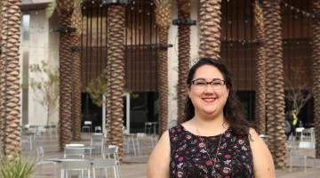 Jaime Ingrisano in front of the Student Pavilion at ASU's Tempe campus