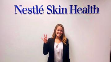 ASU W. P. Carey student Jasmine Donovan at the Nestle Skin Health offices in Fort Worth, Texas