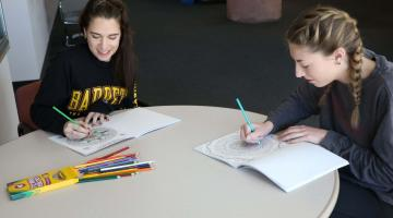 ASU students color to relax