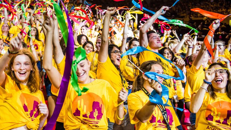 Students celebrating at ASU Welcome event 2018 Wells Fargo Arena