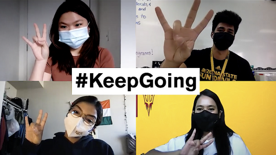 Zoom grid of four ASU students giving Forks Up with the text #KeepGoing