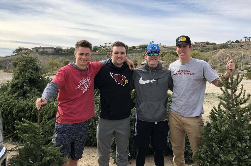 Left to right: Connor Hogan, Morgan Taylor, Cole Newgaard and Dillon Newgaard of Ahwatukee Christmas tree removal