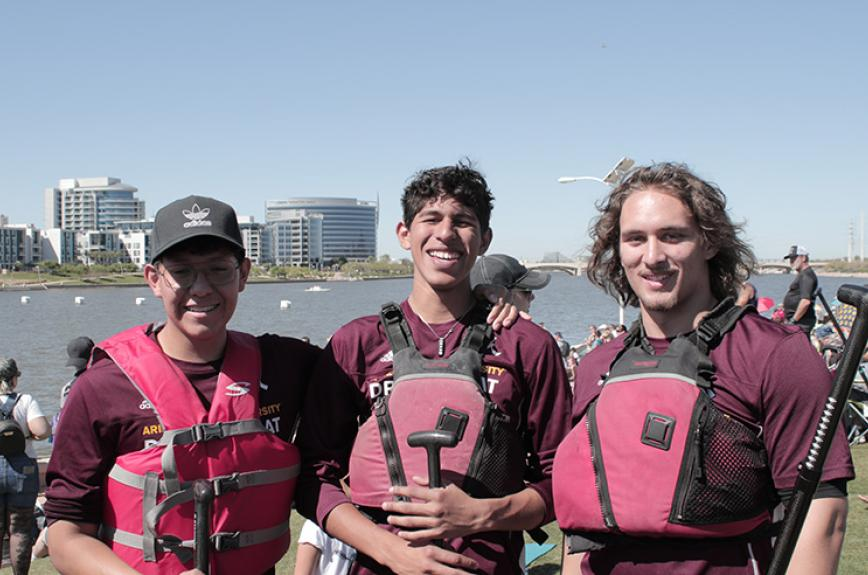 ASU Dragon Boat team at the Tempe Town Lake Arizona Dragon Boat Festival