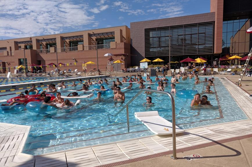ASU students in the pool at the Sun Devil Fitness Complex