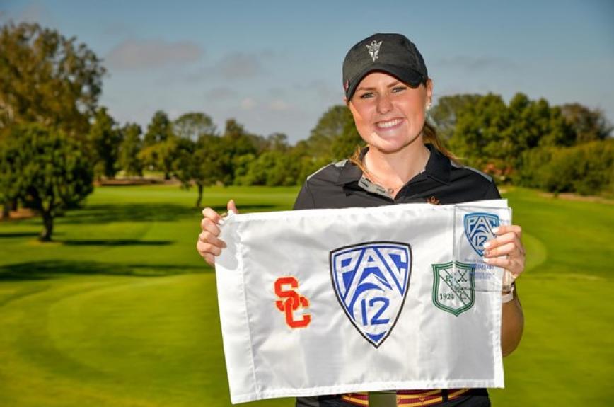 Olivia Mehaffey winning her golf Pac-12 individual championship