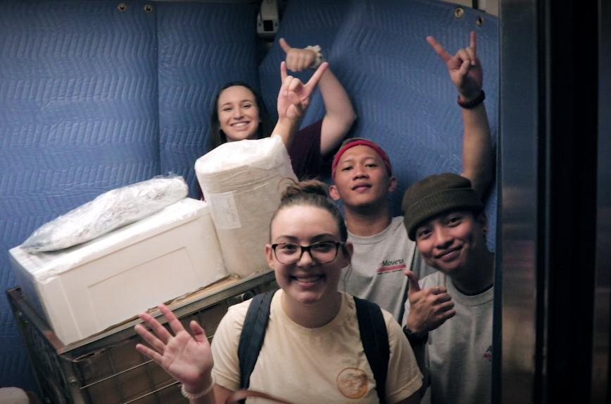 Students in an elevator during ASU move-in