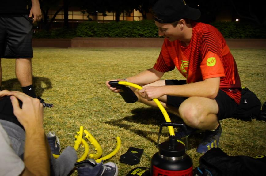 ASU student putting together a roundnet