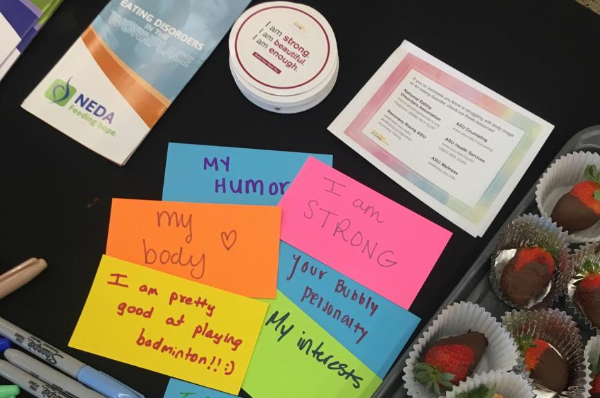 """Affirming messages writtenon post-it notes such as """"i am enough"""" for an ASU event about eating disorder awareness"""