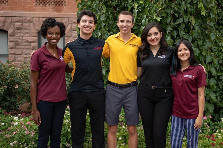 Leah Jones, Tony Camisi, Dan Pasco, Hanna Salem and Yasmin Alvarado, ASU's Council of Presidents