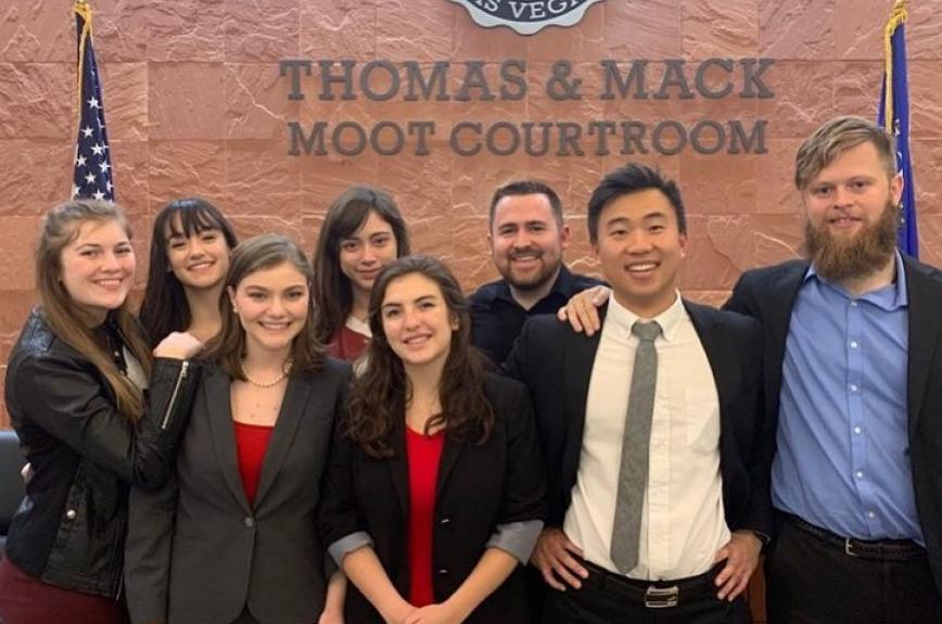 ASU Mock Trial team at a competition: Summer Stevens, Katherine Hostal, Nicole Morote, Chris Doran, Lucas Theriault, Rachel Caldwell, and Maria Mason