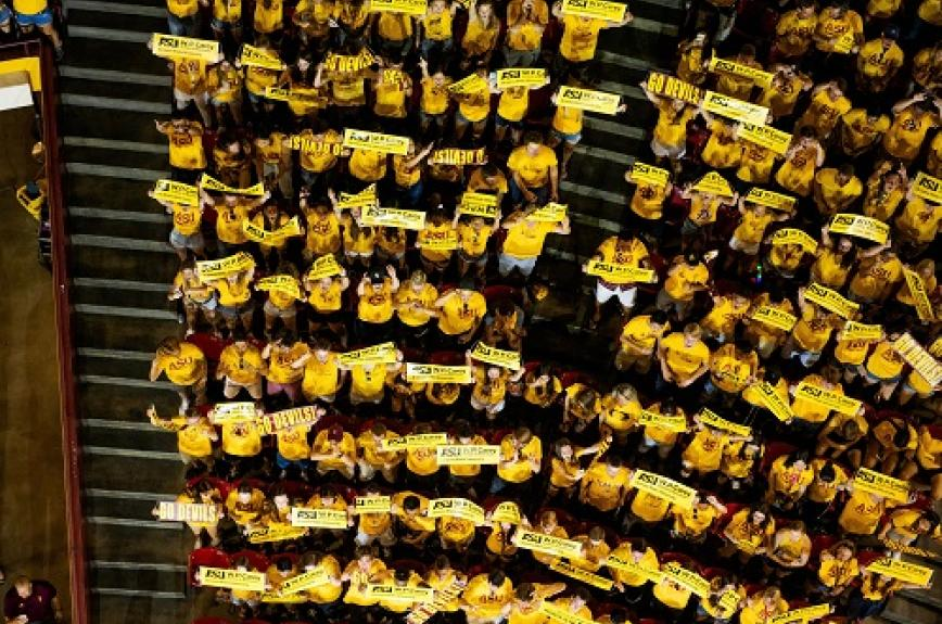Overhead view of ASU students in gold at Sun Devil Welcome 2019