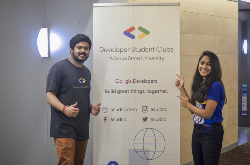 Vipanchi Chacham at a Google Developer club meeting at ASU