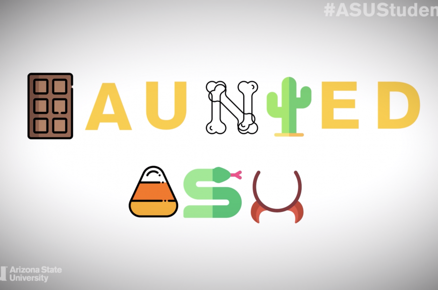 """A graphic with Halloween candy, devil horns and bones that reads """"Haunted ASU"""""""