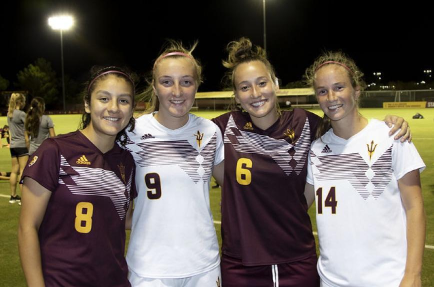 Alexia Delgado, Nicole Douglas, Lara Barbieri and Eva Van Deursen at the Sun Devil Soccer Stadium