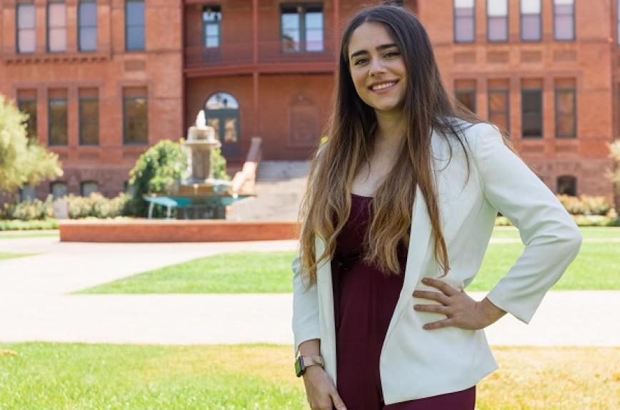 ASU Tempe student government 2020-21 president Jacqueline Palmer in front of Old Main