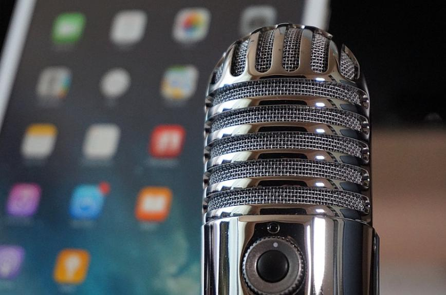 stock image of a podcast microphone