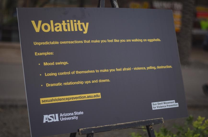 """Sign on """"Volatility"""" from last years event for Sexual and Relationship Violence Prevention Program."""