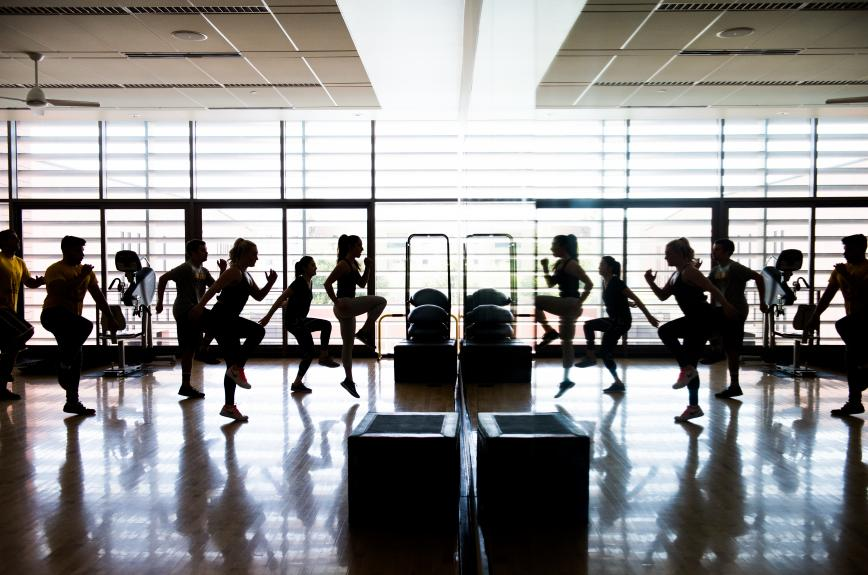 Sun Devils taking a work out class at the Sun Devil Fitness Complex (SDFC)