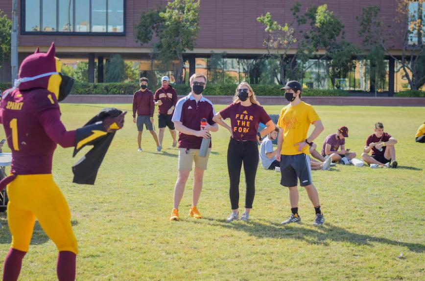 Sparky social distances with Sun Devil Football friends