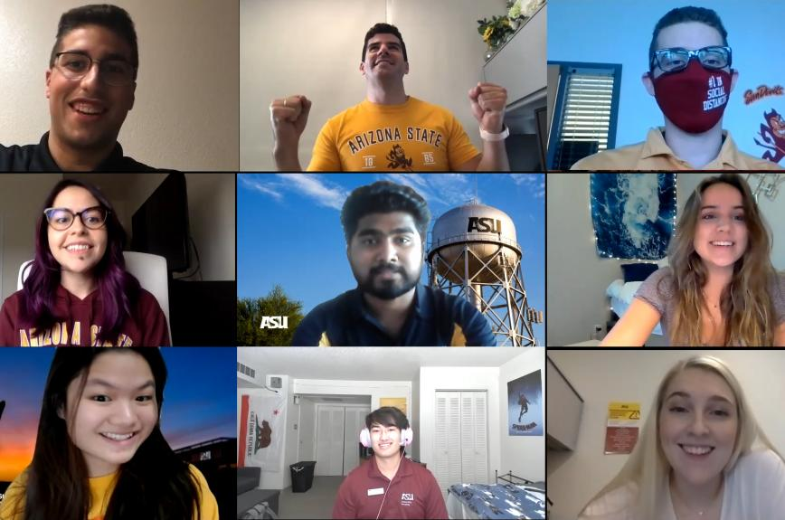 Zoom grid of ASU students in the Thanksgiving COVID testing video