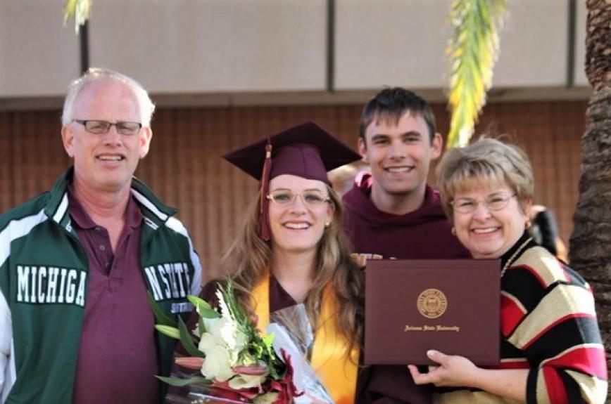 Dobbertein ASU Family at an ASU graduation