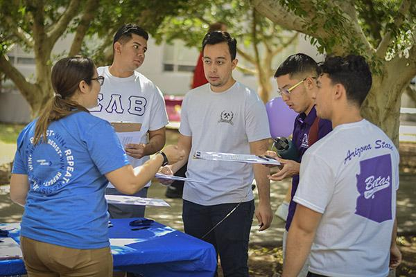 ASU students at the 2019 National Voter Registration Day event at ASU's Tempe campus