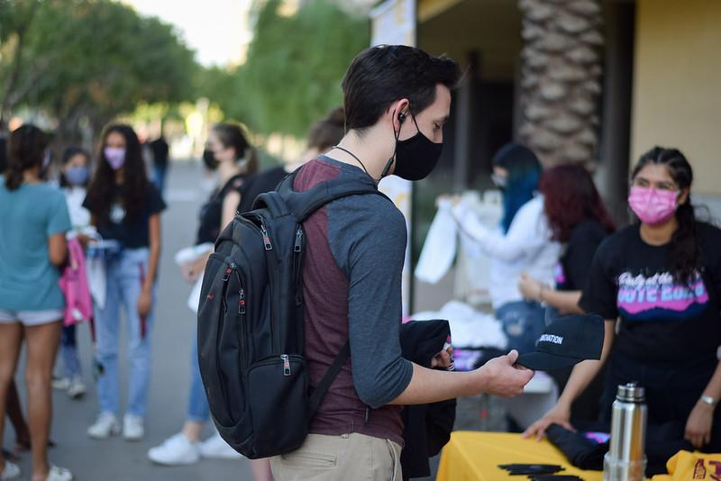 Student in a mask at the Party at the Polls Election Day 2020 ASU Tempe