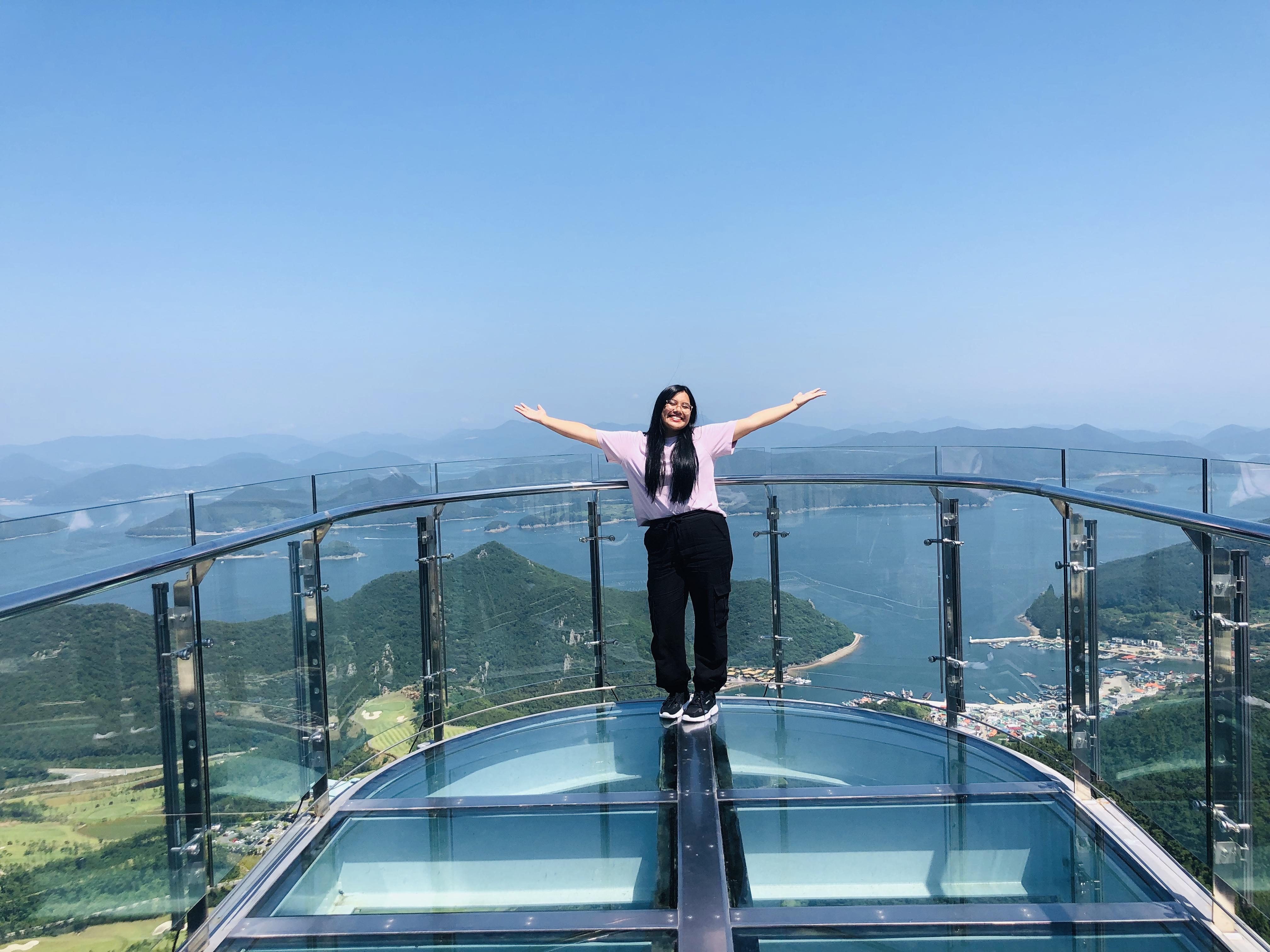 Amber Cabrera studying abroad at a viewing spot in South Korea