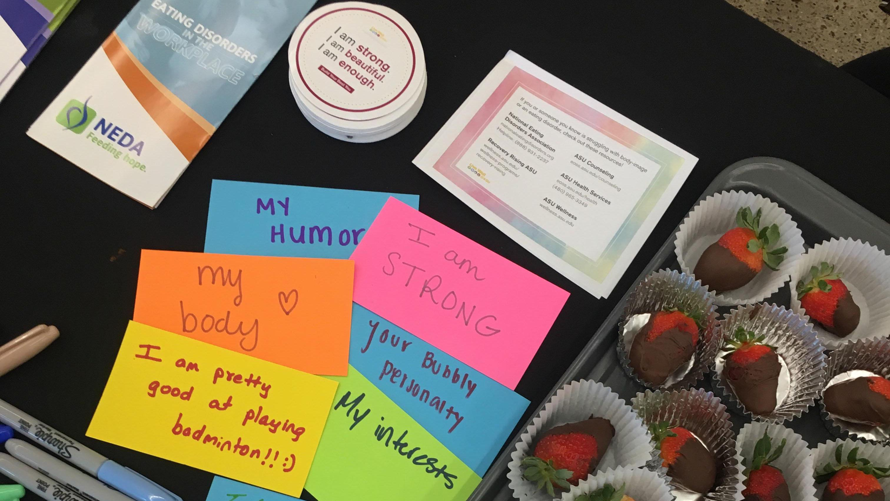 "Affirming messages written on post-it notes such as ""i am enough"" for an ASU event about eating disorder awareness"