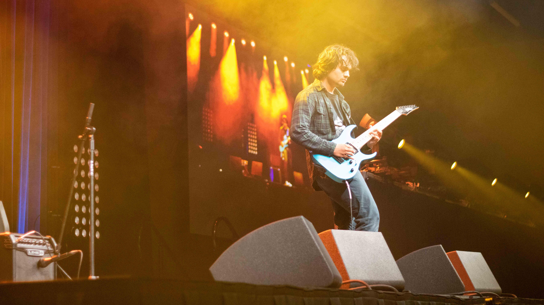 Student playing guitar at ASU's Got Talent