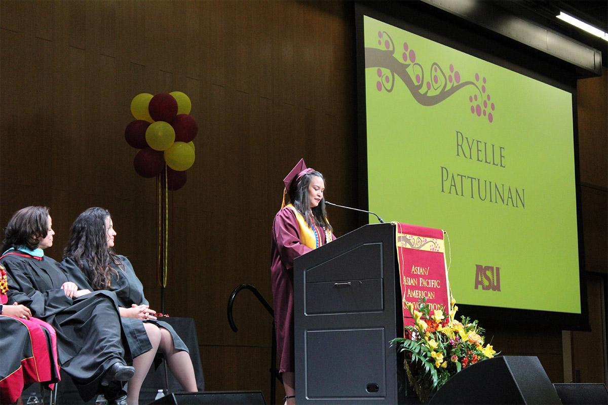 Ryelle Pattuinan speaks at the Fall 2017 Asian/Asian Pacific American Convocation
