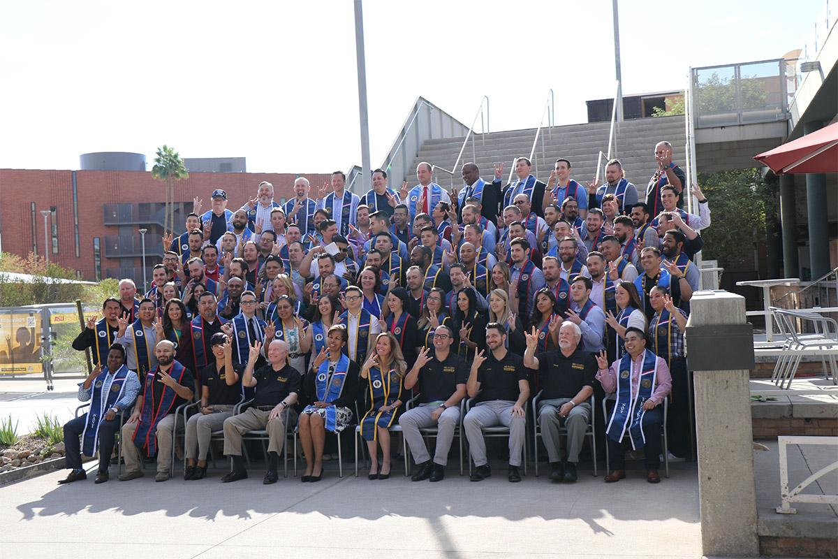 Graduates participating in the Fall 2017 Veterans Honor Stole ceremony show their Sun Devil pride.