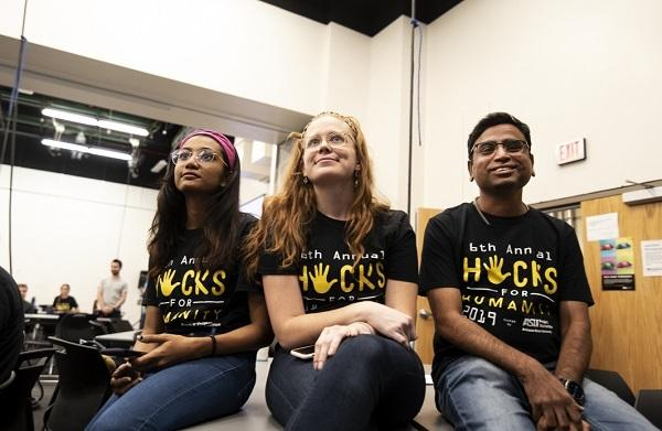 Alleyway co-creators Sanjana Saurin Shah, Molly Luther and Sidharth Ughade await the judges' decisions at Hacks for Humanity 2019. Photo by Alisa Reznick)