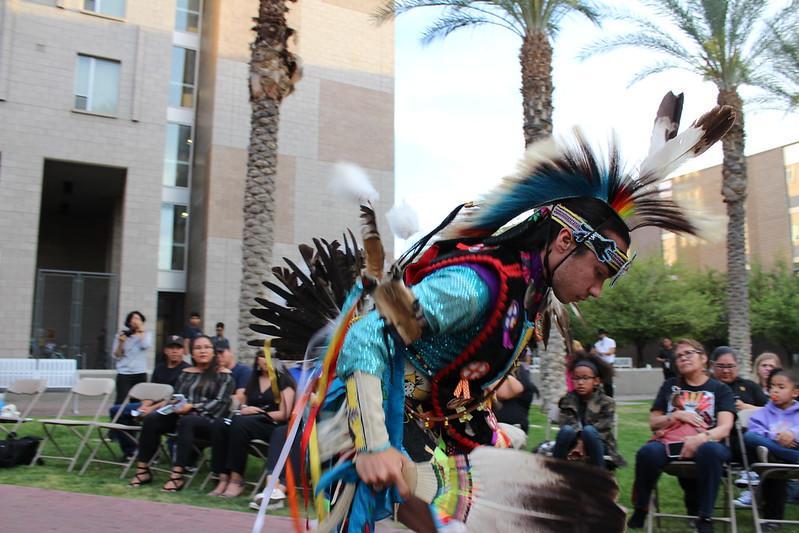 Mr. Indian ASU RJ Morin performs prairie chicken dance