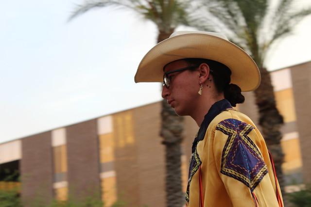 Model at the BICA indigenous fashion show at ASU