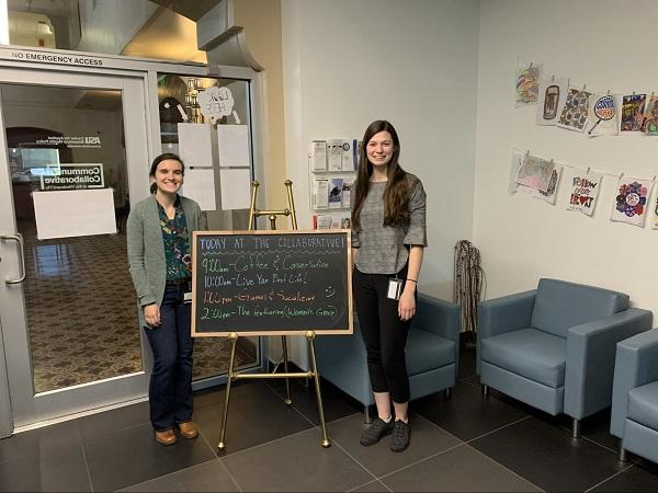 Sarah Ford and Andria Chien in the Community Collaborative space at Westward Ho