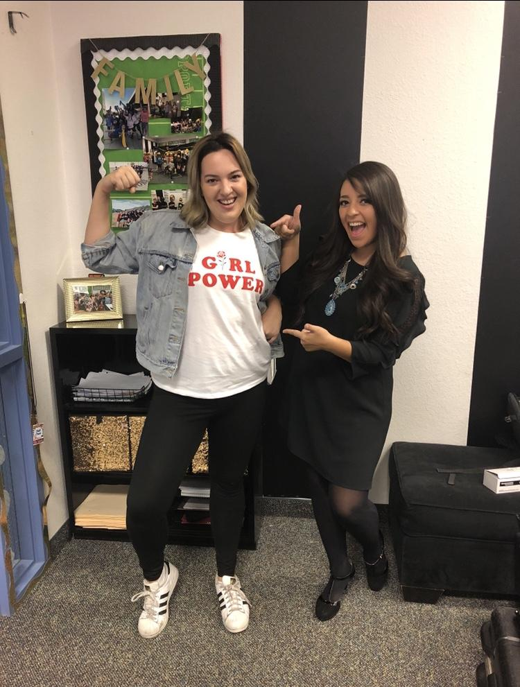 Chloe Burbank and Julie Salcido celebrating women's accomplishments on Shero documentary set