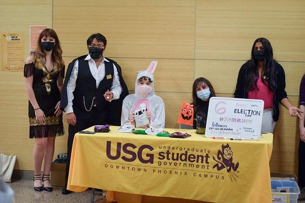 ASU students in costumes at Night of the Voting Dead at ASU Downtown Phoenix
