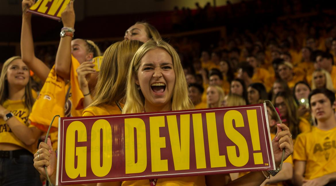An ASU student with a Go Devils sign at ASU Welcome 2019 at Desert Financial Arena